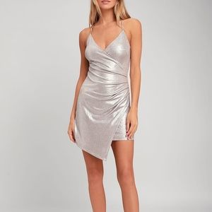 Silver Metallic Wrap Dress